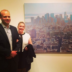 Josh & Kerry Blanket standing with  Paul Haggith's artwork NYC2013