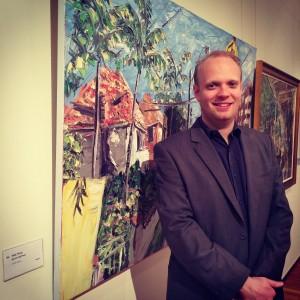 Josh Blanket with Sally West's artwork