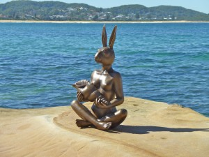 """""""She put the seashell to her ear to hear the ocean..."""" Bronze Sculpture of Rabbitgirl"""