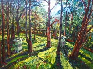 "Winner of the 2015 Wood Glen People's Choice Art Award - Andy Collis ""The Beehives at Avoca; Morning Light'  Acrylic on Canvas (1.2 x 1.6cm) SOLD"