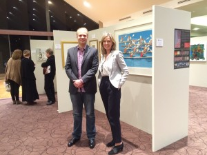 KAB Gallery Director Josh Blanket with Wood Glen Manager Deb Baker