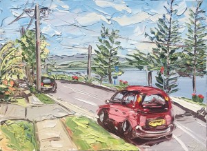 """Congratulations Sally West!  A FINALIST in the 2015 Warringah Art Prize for her work:  """"Tuggerah Parade - Plein Air"""" Oil on canvas 90x120cm"""
