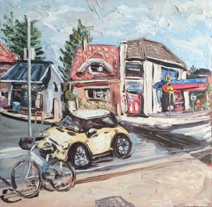 "Sally West ""Queensy Milk Bar"" Oil on Canvas (150x150cm)  $10,000"