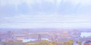 """Paul Haggith """"Southerly Over Newcastle"""" Oil on Linen (185x93cm)"""
