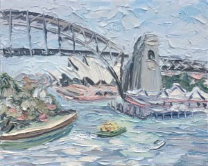 "Sally West ""Sydney Harbour Plud Green Ferry"" Oil on Canvas (120x150cm) $8,000"