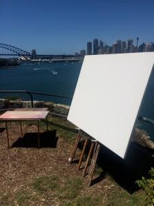 Sally West's blank canvas set up at Balls Head (Sydney)