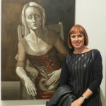 Wendy at the SH Ervin Gallery with her Portia Geach Portrait Prize finalist work