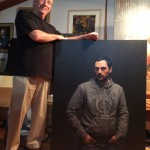 Peter Smeeth with his Doug Moran Portrait Prize finalist Tristan