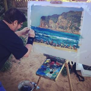 Patrtick Carroll painting en plein air at Avoca Beach Part of the 5 Lands Walk En Plein Air Event Sponsored by KAB Gallery