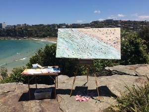 """Sally West's en plein air set up at Freshwater Beach. This painting """"Freshy"""" was available at KAB Gallery but has since SOLD  See more available works painted at this location by Sally West  Click Here"""