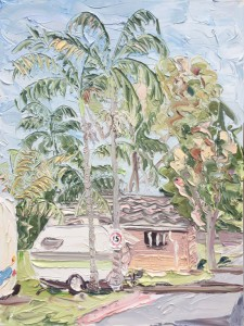 "Sally West ""Caravan & Amenities Block at El Lago Waters"" Oil on Canvas (90x120cm)"