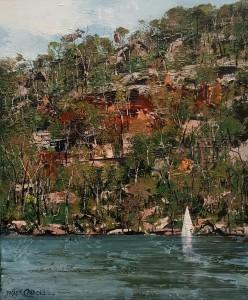 Patrick Carroll Hillside and Sail (The Hawkesbury Series) Acrylic on Canvas (60x50cm) $4,950