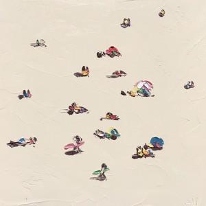Sally West  Sunbakers in the Sand (Beach Study 3 12.10.16 - Plein Air)  Oil on Canvas 45x45cm $990