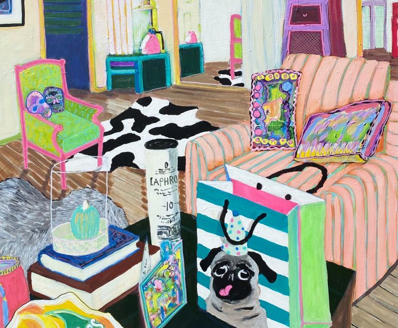 Night Interior with Chairs and Empty Bags ( Jacki Fewtrell Gobert) - Available from KAB Gallery
